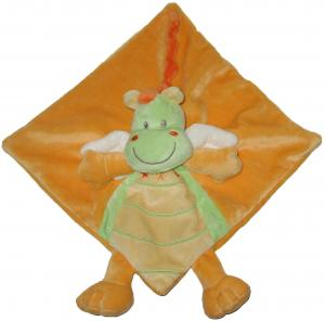 Doudou dragon dinosaure plat carré orange et vert Kitchoun - Kiabi, Nicotoy