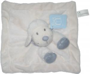 doudou mouton blanc et gris bleu plat carr nicotoy. Black Bedroom Furniture Sets. Home Design Ideas