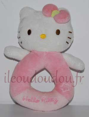 Hochet chat Hello Kitty rose et blanc Hello Kitty - Sanrio