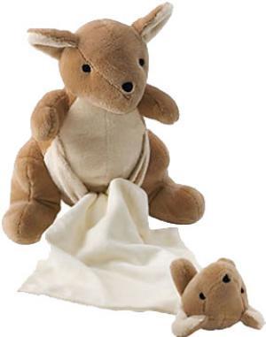 doudou peluche kangourou cr me et marron maman et b b. Black Bedroom Furniture Sets. Home Design Ideas