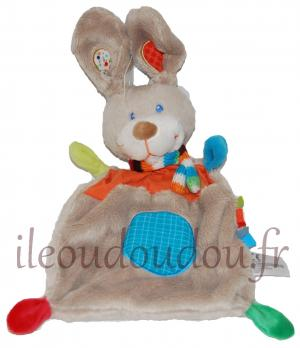 Doudou lapin plat gris et orange rectangle Nicotoy