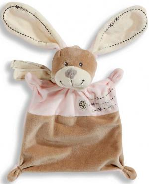 Doudou lapin plat marron et rose rectangle *Cuddles* Nicotoy