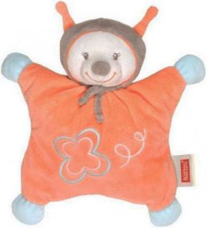 Peluche abeille papillon semi plat, orange, bleu et gris, collection Bubbles Nattou