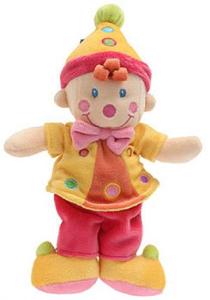 Doudou poupée lutin clown jaune orange et rose Kitchoun - Kiabi, Nicotoy