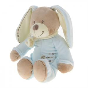 Doudou peluche lapin bleu et marron collection Cuddles Nicotoy