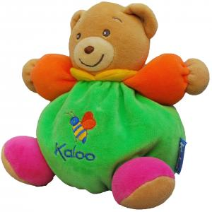 Peluche ours vert, orange et rose, abeille Kaloo