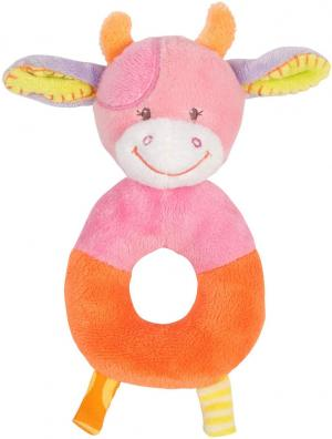 Hochet Vache rose et orange - Collection Funny Farmer Nattou