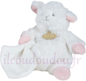 peluche mouton agneau blanc et rose avec mouchoir petit. Black Bedroom Furniture Sets. Home Design Ideas