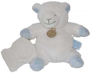 peluche mouton agneau blanc et bleu avec mouchoir petit. Black Bedroom Furniture Sets. Home Design Ideas