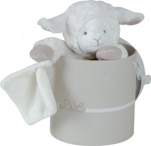 doudou mouton agneau blanc et marron avec mouchoir grand. Black Bedroom Furniture Sets. Home Design Ideas