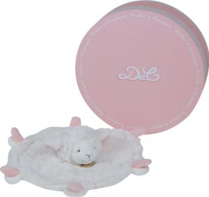 doudou mouton plat rond blanc et rose dc2428 doudou et. Black Bedroom Furniture Sets. Home Design Ideas