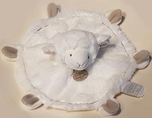 doudou mouton plat rond blanc et taupe dc2429 doudou et. Black Bedroom Furniture Sets. Home Design Ideas