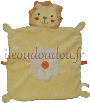 Doudou lion plat jaune et orange grand modèle Nicotoy