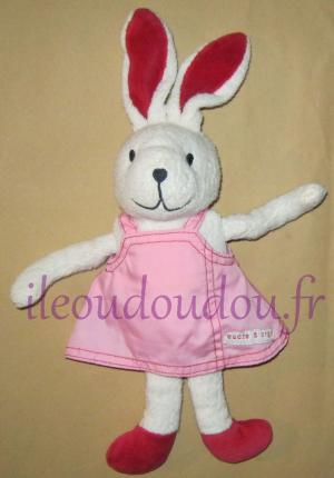 Peluche lapin blanc robe rose Sucre d'Orge
