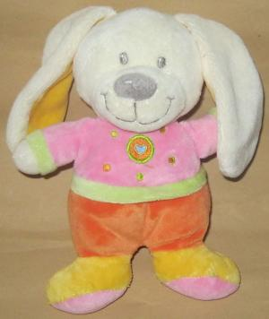 Doudou lapin rose et orange Nicotoy, Kitchoun - Kiabi
