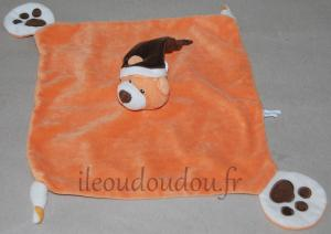 Doudou ours plat orange Gipsy