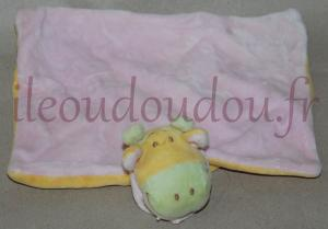 Doudou girafe jaune rose et verte plat rectangle  Tex Baby