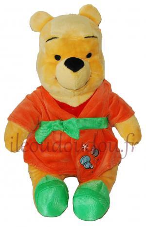 Peluche Winnie en robe de chambre orange et vert - Bubbles