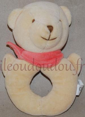 Hochet ours beige et rose Comptines, Amtoys