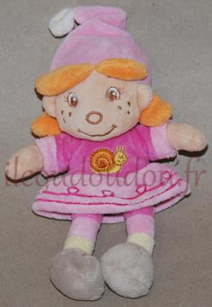 Doudou poupée rose et orange Bengy, Amtoys