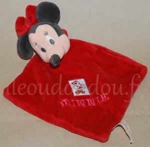 Doudou plat Minnie rouge noir et rose Disney Baby