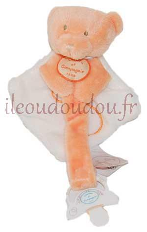 Doudou plat attache-tétine ours orange et blanc Collector - DC2371 Doudou et compagnie