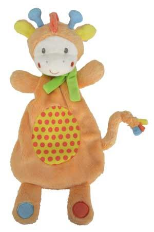 Doudou girafe plat orange vert jaune et rouge *Youmy jungle* Nicotoy