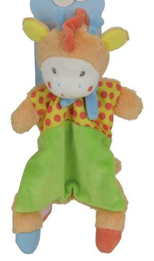 Doudou girafe plat attache-tétine orange vert jaune et rouge *Youmy jungle* Nicotoy