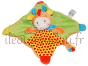 Doudou girafe carré plat orange vert rouge et jaune *Youmy jungle* Nicotoy