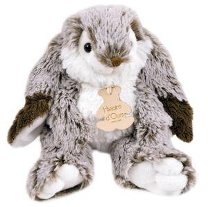 Peluche lapin blanc et marron fonc marius petit mod le - Peluche lapin marron ...