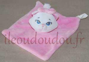 Doudou plat carré chat Marie rose et blanc Disney Baby, Nicotoy, Simba Toys (Dickie)