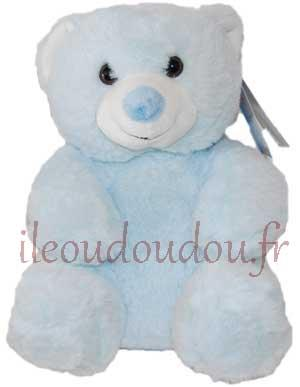 Peluche ours assis bleu Huggy bear tendresse Gipsy