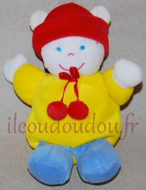 Peluche ours lutin jaune rouge bleu et blanc Gipsy