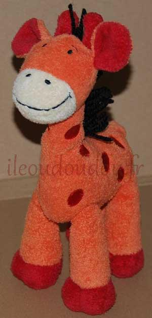 Peluche girafe orange et rouge Baby Club, Nicotoy