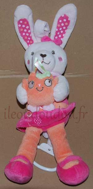 Peluche musicale lapin orange et rose Tex Baby