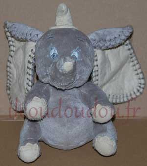 Peluche musicale Dumbo gris et beige Disney Baby, Nicotoy, Simba Toys (Dickie)