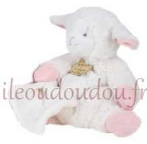 doudou mouton agneau blanc et rose avec mouchoir grand. Black Bedroom Furniture Sets. Home Design Ideas