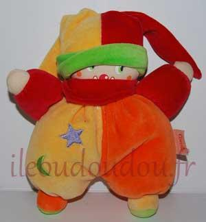 Doudou poupée clown lutin jaune orange rouge Corolle