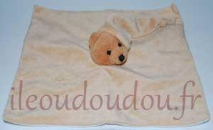 Doudou plat carré ours marron Parents Marques diverses