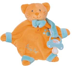Doudou plat attache-tétine chat orange et vert - BN046 Baby Nat