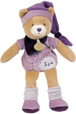 Peluche ours Sam violet et marron, collection Carambole Doudou et compagnie