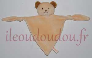 Doudou ours plat triangle orange clair et marron Famili Marques diverses