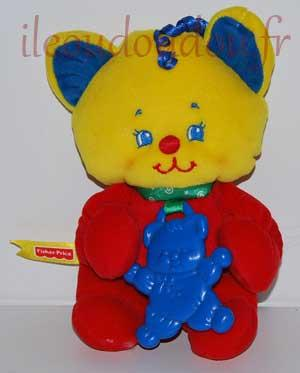 chat ours jaune bleu et rouge Fisher Price