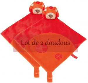 Doudou lion rouge et orange *Jungle* Nattou