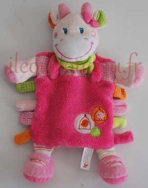 Doudou plat vache rose, verte et blanche Nicotoy, Simba Toys (Dickie)