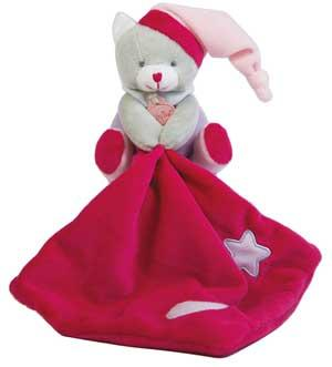 Chat peluche gris, rose, rouge et mauve tenant un mouchoir *Les luminescents étoile* - BN0137 Baby Nat