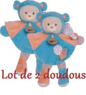 Doudou ours Capucin bleu et rose orange - BN712 Baby Nat