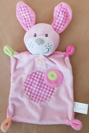 Doudou chien (lapin) plat  rose rectangle, étiquettes, ronds brodés Nicotoy, Baby Club
