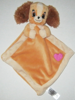 Doudou chienne Belle marron coeur rose Disney Baby, Nicotoy, Simba Toys (Dickie)