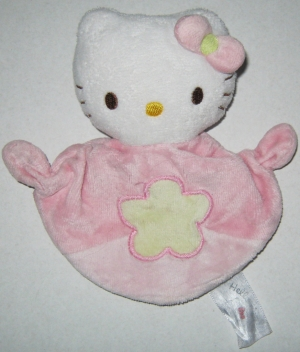 Doudou Hello Kitty rose fleur verte Jemini, Hello Kitty - Sanrio